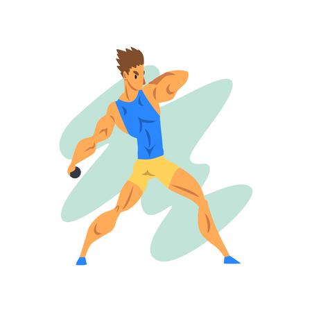 Mannelijke atleet gooien een pit, professionele sportman op sportieve kampioenschap atletiek competitie vector illustratie op een witte achtergrond
