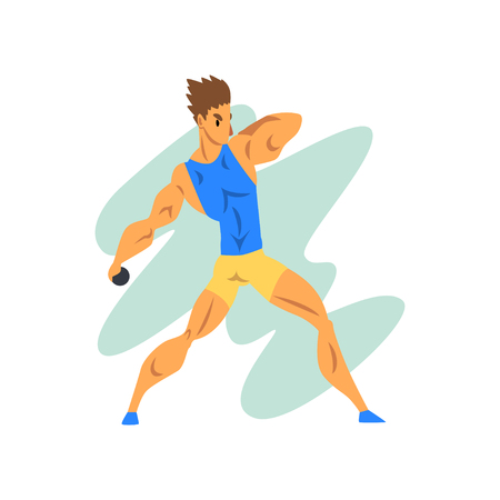 Male athlete throwing a kernel, professional sportsman at sporting championship athletics competition vector Illustration on a white background
