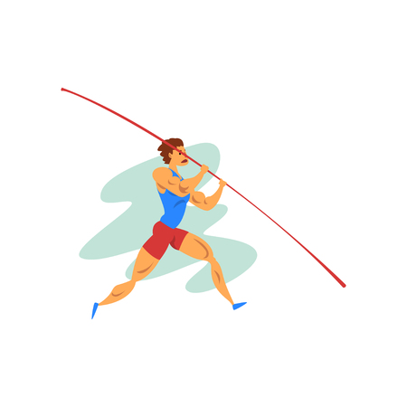 Male athlete jumping with a pole, professional sportsman at sporting championship athletics competition vector Illustration isolated on a white background.