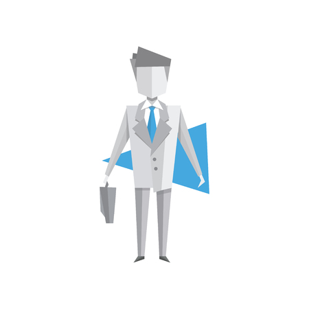 Businessman standing with briefcase vector Illustration on a white background
