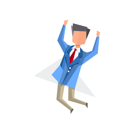 Businessman happily jumping cartoon vector Illustration isolated on a white background.