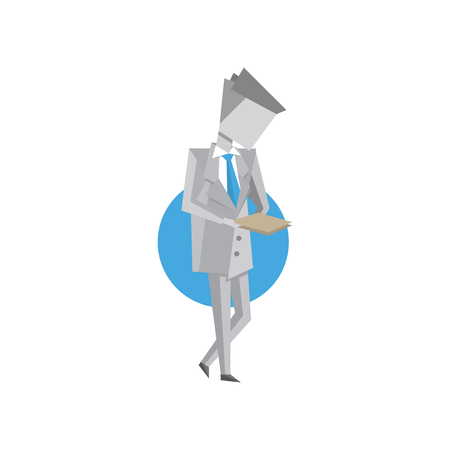 Businessman looking at office document vector Illustration isolated on a white background.