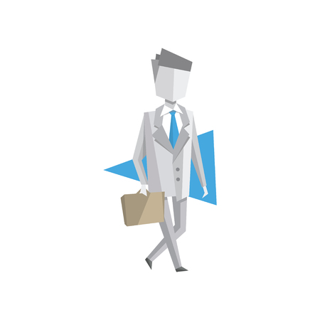 Businessman walking with briefcase vector Illustration on a white background