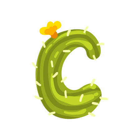 C letter in the form of cactus with blooming flower, green eco English letter vector Illustration isolated on a white background.