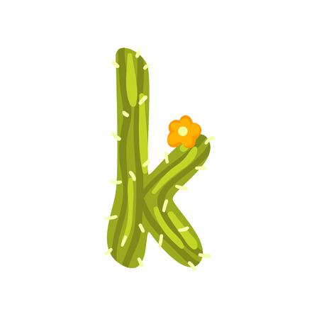 K letter in the form of cactus with blooming flower, green eco English letter vector Illustration isolated on a white background.