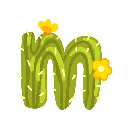 M letter in the form of cactus with blooming flowers, green eco English letter vector Illustration isolated on a white background.