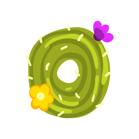 O letter in the form of cactus with blooming flowers, green eco English letter vector Illustration isolated on a white background.