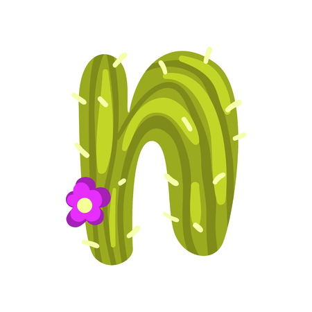 N letter in the form of cactus with blooming flower, green eco English letter vector Illustration isolated on a white background.