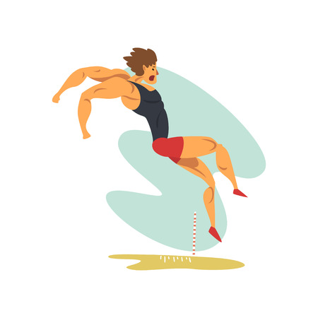 Male athlete doing long jump, professional sportsman at sporting championship athletics competition vector Illustration isolated on a white background. Stock Illustratie