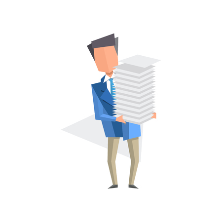 Businessman holding pile of office papers and documents, paper work, bureaucracy, routine business concept cartoon vector Illustration isolated on a white background.