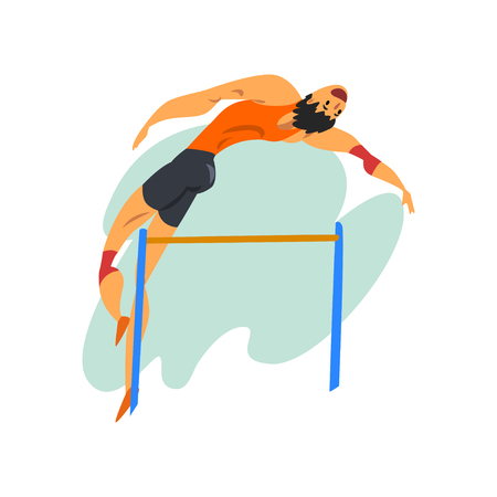 Athlete high jump man, professional sportsman at sporting championship athletics competition vector Illustration isolated on a white background.