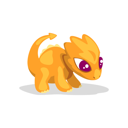 Cute cartoon orange baby dragon, funny fantasy animal character vector Illustration isolated on a white background. Banque d'images - 114807210
