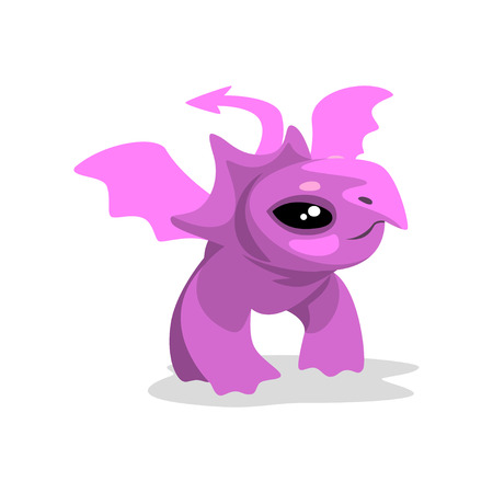 Cute cartoon pink baby dragon, funny fantasy animal character vector Illustration isolated on a white background. Banque d'images - 114807217