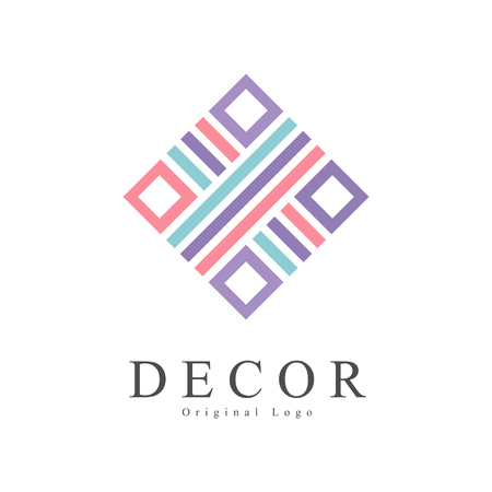 Decor original, creative sign for company identity, furniture shop, craft store, advertising, poster, banner, flyer vector Illustration on a white background Illustration