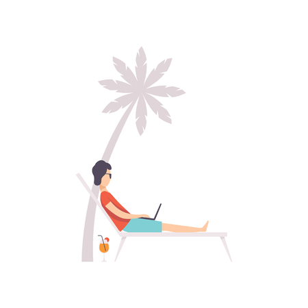 Young man lying on hammock with laptop, remote working, freelance concept vector Illustration isolated on a white background.