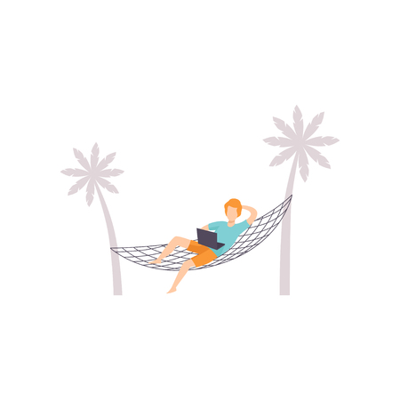 Freelancer lying on hammock and working with laptop, remote working, freelance concept vector Illustration isolated on a white background. Ilustrace
