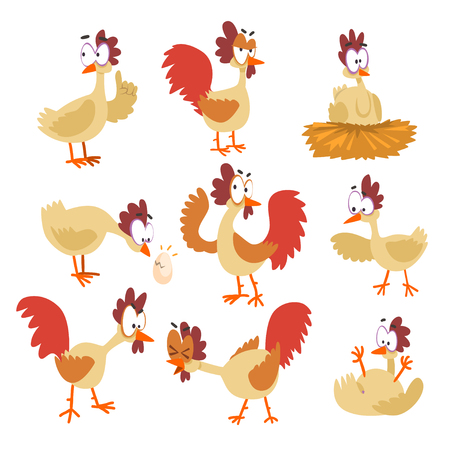 Funny hen set, comic cartoon bird characters in different poses and emotions vector Illustrations isolated on a white background.