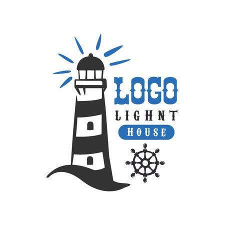 Diseño original del faro, insignia retro para escuela náutica, club deportivo, identidad empresarial, vector de productos impresos ilustración sobre un fondo blanco
