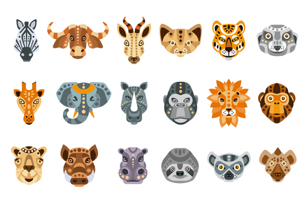 African animals made in modern flat style vector. Lion, rhino, alligator and other cute animals. Geometrical and clean vector.