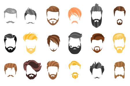 Capelli, barba e viso, capelli, maschera raccolta piatta cartone animato ritaglio. Acconciatura da uomo vettoriale, illustrazione, barba e capelli. Icone di acconciature acconciature isolate Vettoriali