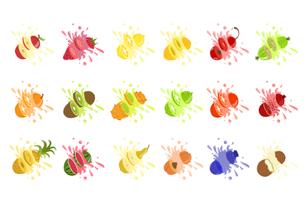 Set of fruit juice splash . Pineapple, strawberry, watermelon, mango, peach, blackberry, raspberry, banana, guava, bueberry, coconut. Vector illustration