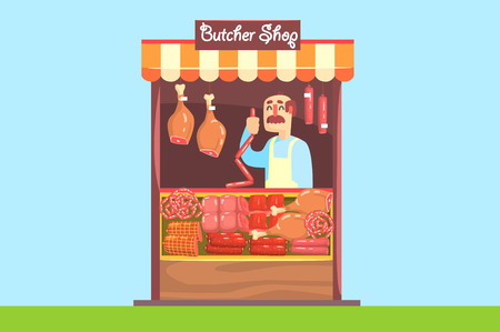 The farmer sells at the farm market meat of own production. Sausage, bacon, smoked chicken. Modern flat style. Vector illustration isolated