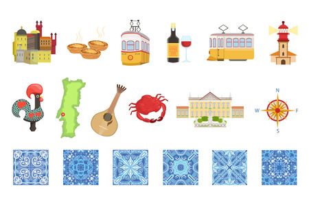 Portugal icons set. Portuguese national traditional symbols and objects illustration