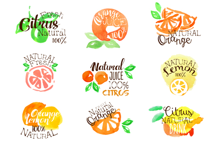 Fresh Citrus Juice Promo Signs Colorful Set