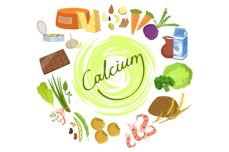Products Rich In Calcium Infographic Illustration. Simple Colorful Illustration With Objects Surrounding The Text. Flat Vector Set On White Background.