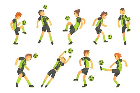 Fußballspieler einer Mannschaft mit isoliertem Ball-Illustrationssatz. Flache Zeichentrickfiguren in einfachen kindlichen Vektorzeichnungen. Vektorgrafik