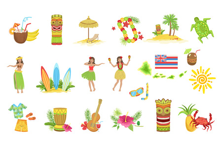 Hawaiian Vacation Set Of Classic Symbols.. Isolated Flat Vector Icons With Traditional Hawaiian Representations. Illusztráció