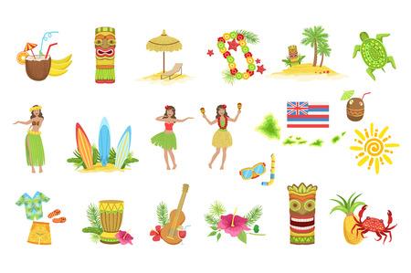 Hawaiian Vacation Set Of Classic Symbols.. Isolated Flat Vector Icons With Traditional Hawaiian Representations. Illustration