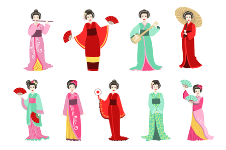 Japanese Geisha In Different Kimono Performing Set Of Flat Simple Realistic Characters On White Background With Traditional Culture Symbols Illustration