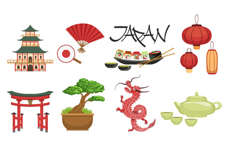 Classic Japanese Culture Symbols Set. Isolated Objects Representing Japan On White Background