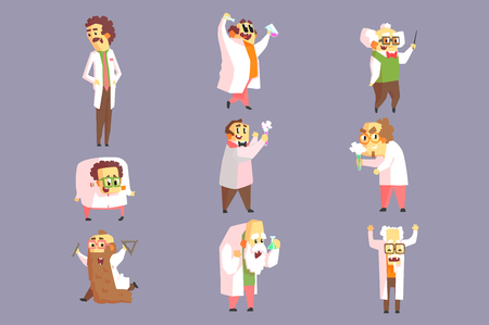 Set Of Funny Mad Scientists In Lab Coats Character Drawings On Purple Background In Funny Geometric Style Banque d'images - 114807252