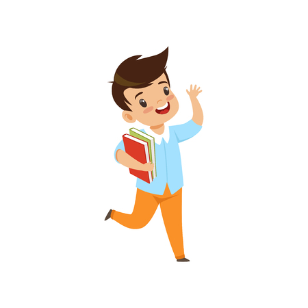 Smiling little boy jumping with book, cute kid playing and learning vector Illustration isolated on a white background.