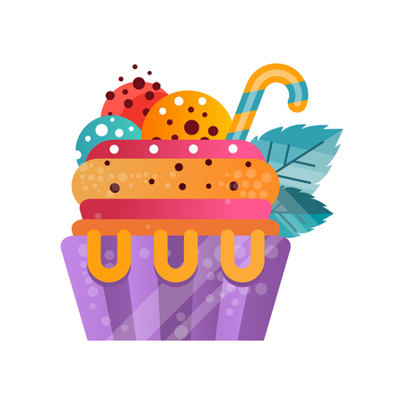 Delicious colorful creamy cupcake, sweet dessert for birthday party vector Illustration isolated on a white background.