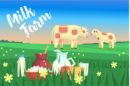 Landscape With Two Cows And Milk Products On The Foreground. Bright Color Funky Flat Illustration In Childish Style. Illustration