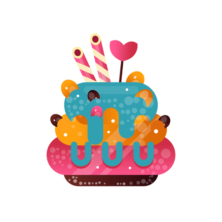 Delicious creamy cupcake, sweet pastry decorated with candies, dessert for birthday party vector Illustration isolated on a white background.