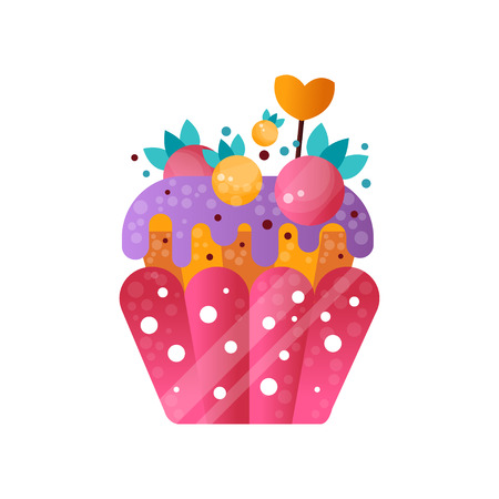 Pink creamy cupcake, sweet pastry decorated with berries, dessert for birthday party vector Illustration isolated on a white background. Illustration