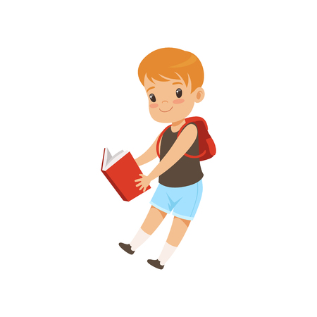 Cute boy jumping with book, elementary school student playing and learning vector Illustration isolated on a white background.