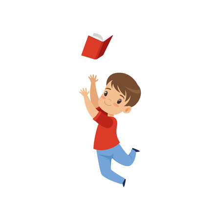 Cute boy jumping with book, kid playing and learning vector Illustration isolated on a white background.