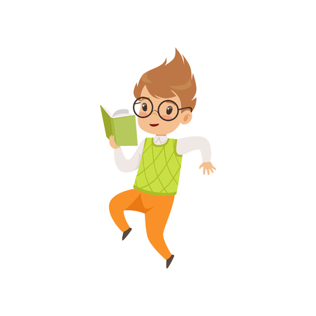 Little boy reading book and jumping, cute kid playing and learning vector Illustration isolated on a white background. Illustration