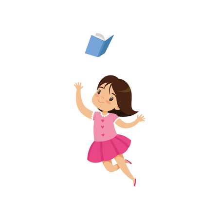 Sweet little girl in pink dress jumping with book, cute kid playing and learning vector Illustration isolated on a white background.