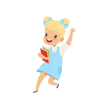 Happy little girl jumping with books, cute kid playing and learning vector Illustration isolated on a white background. Illustration