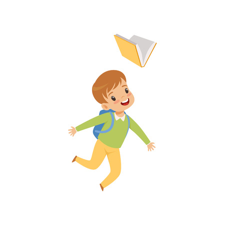Happy boy jumping with book, cute kid playing and learning vector Illustration isolated on a white background.