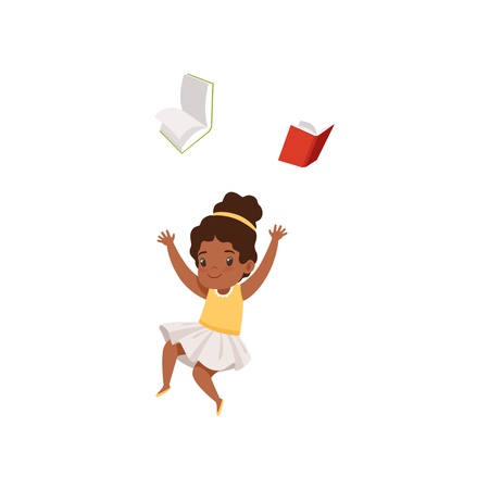 Cute african american girl having fun with book, elementary school student playing and learning vector Illustration isolated on a white background.