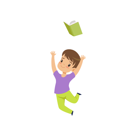 Happy little boy jumping with book, cute kid playing and learning vector Illustration isolated on a white background.