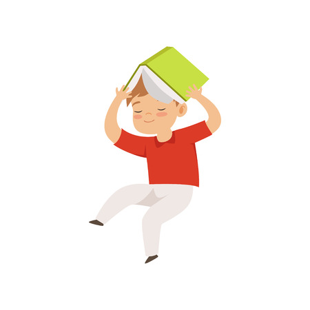 Cute little boy jumping with book on his head, kid playing and learning vector Illustration isolated on a white background. Illustration