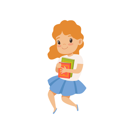 Sweet little girl jumping with book, cute kid playing and learning vector Illustration isolated on a white background. Illustration